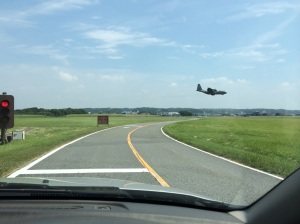 I took this picture on another day, but waiting for giant planes to land before we can keep driving is common when heading over to the other side of base.