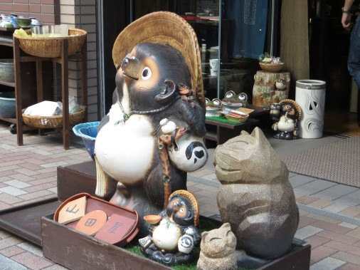 Tanuki outside of a store in Hachioji.