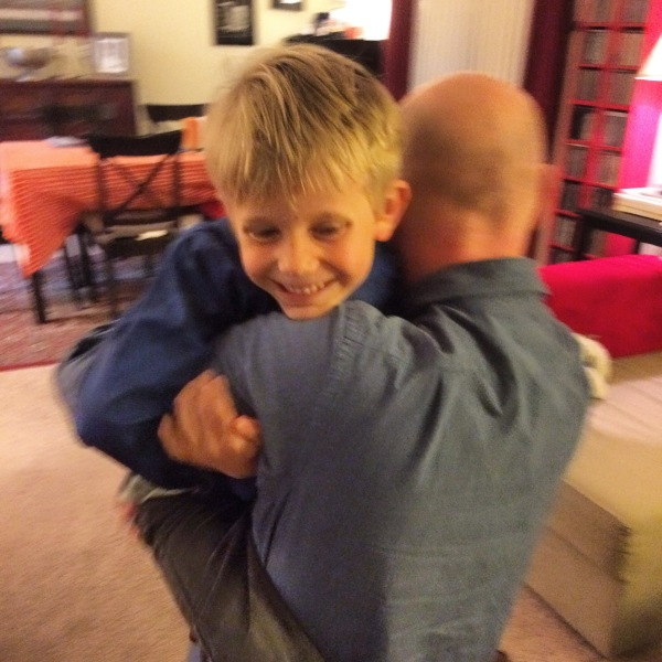 Liam was thrilled to have his Daddy home again.
